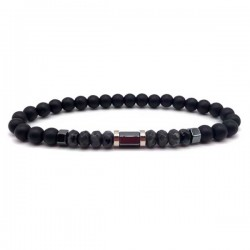 Mens Bracelet Natural Black Onyx Gemstone 6mm