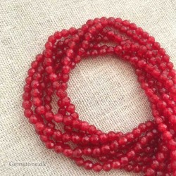 Red Jade Faceted Beads 4mm 1 Strand Natural Stone