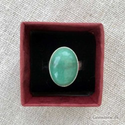 Aventurine Green Ring Silver Plated Adjustable Size