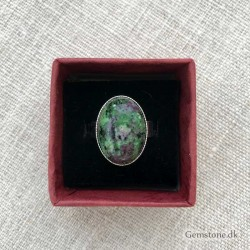 Ruby Zoisite Ring Silver Plated Adjustable Size