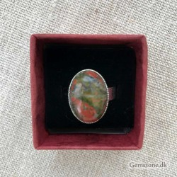 Unakite Ring Silver Plated Adjustable Size