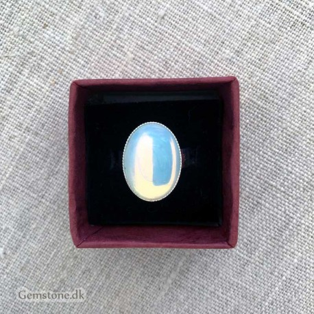 Opal Ring Opalite Silver Plated Adjustable Size