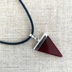Agate Red triangle Pendant / Leather Necklace