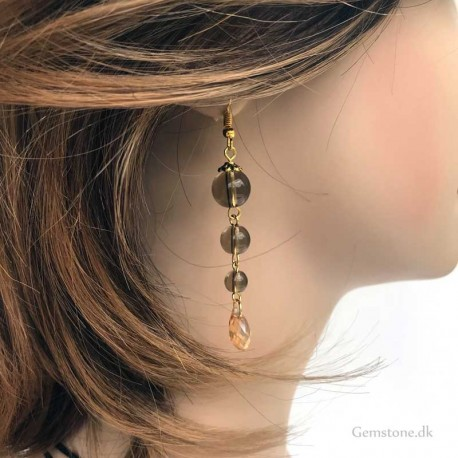Smoky Quartz Earrings Gold Plated Stainless Steel