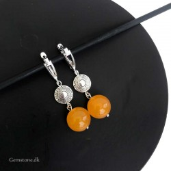 Earrings Jade Orange Natural stone / Silver