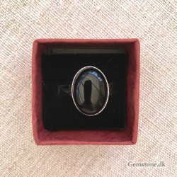 Agate Black Ring Silver Plated Adjustable Size