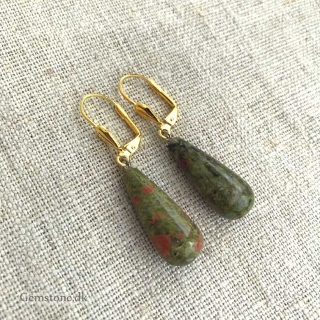 Unakite Earrings Gold Plated leverbacks