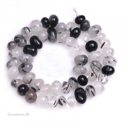Black Rutilated Quartz 8-10mm Freeform Beads