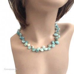 Blue Amazonite Necklace Natural Stone Baroque Style