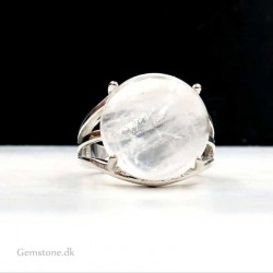 Rock Crystal Quartz Ring Silver Plated Adjustable Size
