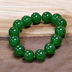 Nephrite Bracelet 12mm Natural Dark Green Jade Beads