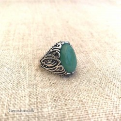 Aventurine Green Ring Natural Stone Antique Silver Adjustable Size