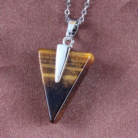 Tiger Eye Triangle Pendant / Steel Chain