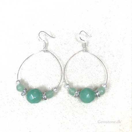 Hoops Aventurine Green Earrings Silver Earhooks