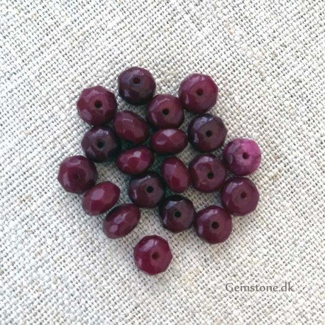 Rubin perler Faceted Rondelle 8x5mm Natural Ruby Beads