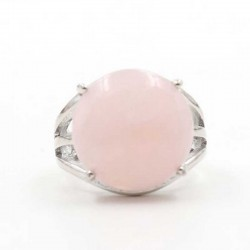 Rose Quartz 16mm Ring Silver Plated Adjustable Size