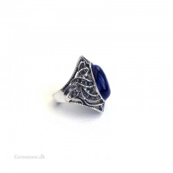 Blue Sandstone Ring Antique Silver Adjustable Size