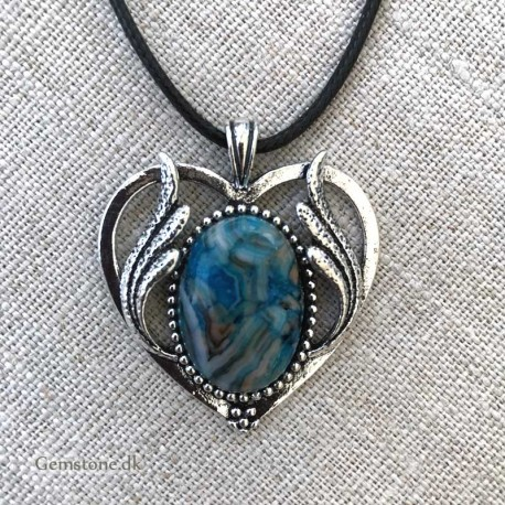 Blue Agate Pendant Silver Heart Leather Necklace