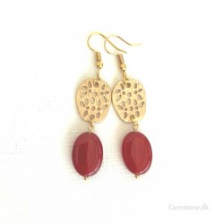Earrings Jade Red Natural stone / Gold Arabica