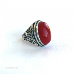 Ring Jade Red Oval Natural Stone Silver Plated Adjustable Size