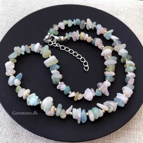 Morganite Necklace Natural Stone Chips
