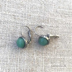 Aventurin Green Earrings Stainless Steel Vintage Design