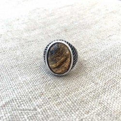 Picture Jasper Ring For Men Natural Stone Antique Silver Adjustable Size