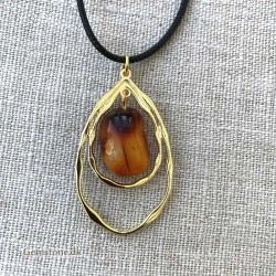 Amber /Gold Pendant Natural Baltic Amber