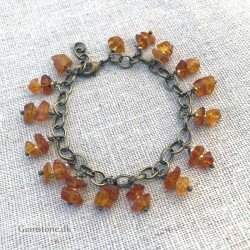 Chain Bracelet Natural Amber Antique Bronze