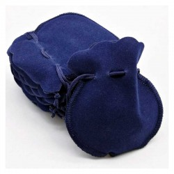 Jewellery pouch mini blue velvet drawstring bag