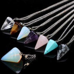 Pendulum Crystal Stone Pendant / Steel Necklace