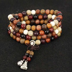 Mala Necklace 108 Sandalwood Beads 8mm Multicolor