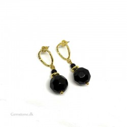 Agate Black Stud Earrings Gold Arabica Design