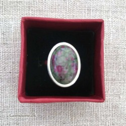 Ring Ruby Zoisite Oval Natural Stone / Stainless Steel Adjustable Finger Ring