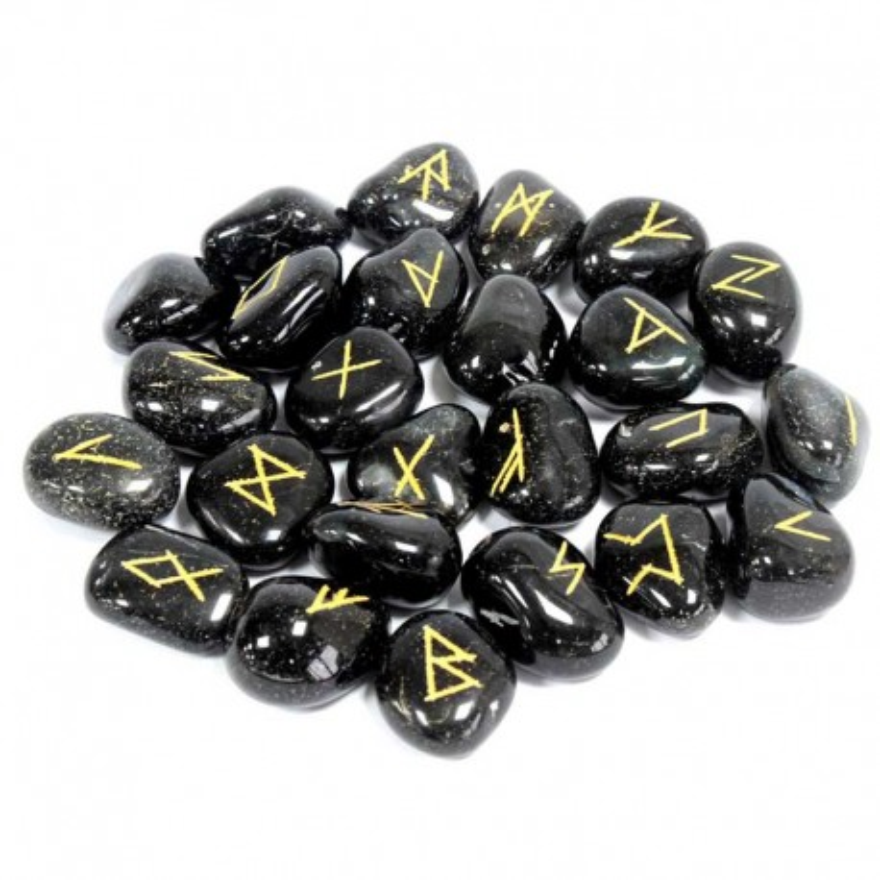 Runesten Sort Onyx 25 rune sten sæt