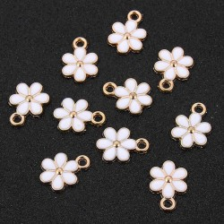Flower Charms White Enamel Pendant Gold Color DIY jewelry