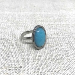 Ring Jade Blue Oval Natural Stone / Stainless Steel Adjustable Finger Ring