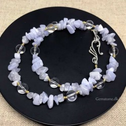 Necklace Blue Lace Agate Chip / Rock Crystal Beads