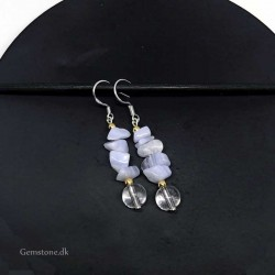 Earrings Blue Lace Agate / Crystal Natural Stone