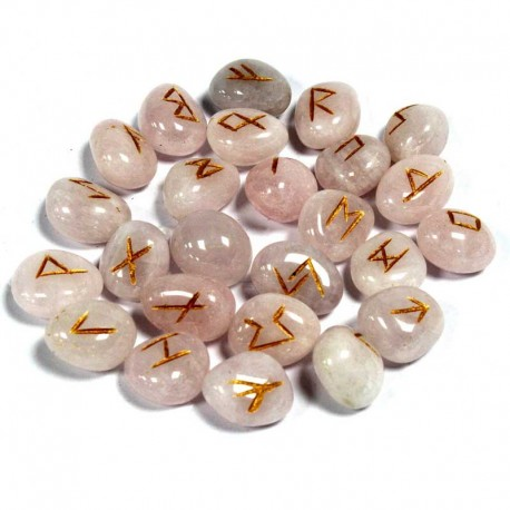 Rune Stone set Rose Quartz gemstone