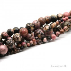 Rhodonit sten perler 6mm 8mm Natural Black Line Rhodonite
