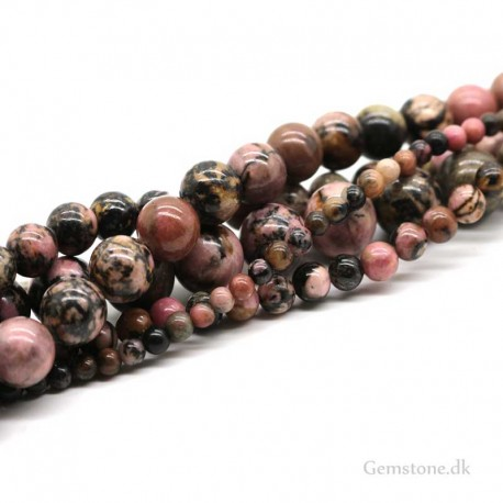 Rhodonite Beads Natural Black Line Rhodonite