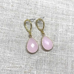 Earrings Rose Quartz Faceted Gold Arabica Design