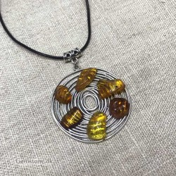 Long Leather Necklace / Amber Pendant Geometric Design