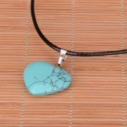 Turquoise heart pendant & Leather Necklace