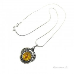 Amber Pendant Silver Snake Chain Natural Baltic Amber