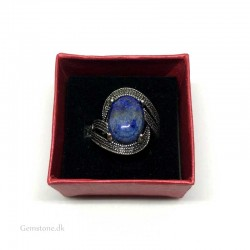 Ring Lapis Lazuli Gemstone Antique Silver Adjustable Finger Ring