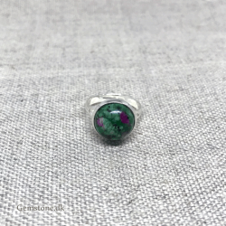Ring Ruby Zoisite Silver Plated Round Stone Finger ring