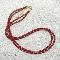 Red Coral Necklace Double