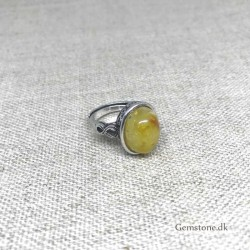 Ring Natural Amber Antique Silver Adjustable Finger Ring